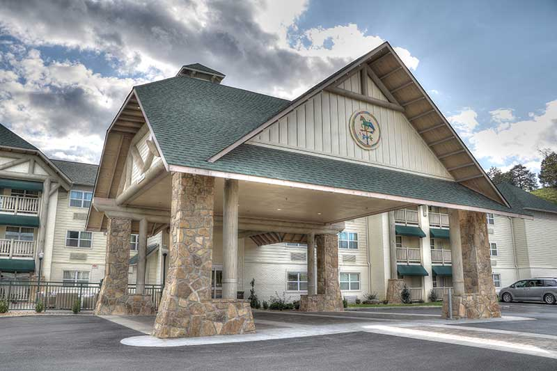 The outside of The Lodge at Five Oaks.
