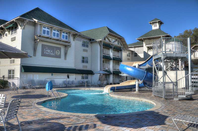 Water slide and swimming pool at The Lodge at Five Oaks in Sevierville.