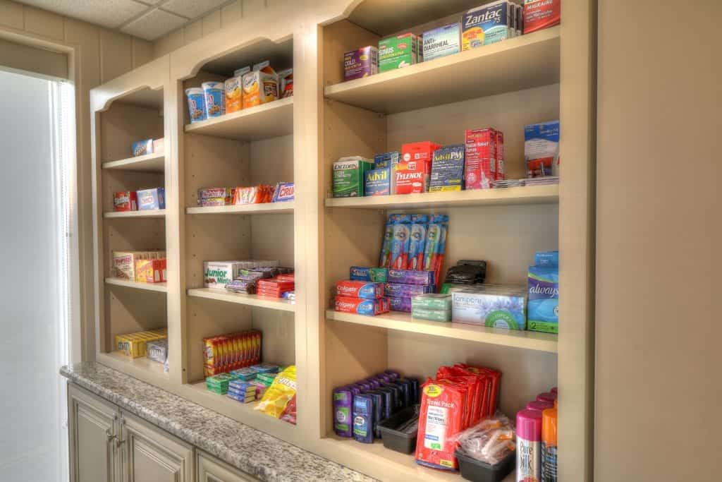 medicine, toiletries, and candy being displayed