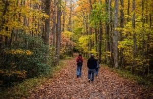 family hiking the Little River Trail in autumn